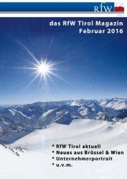 RfW Tirol Magazin Feb. 2016, Ausgabe 01
