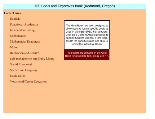 IEP Goals And Objectives Bank Redmond Oregon Braided Cord