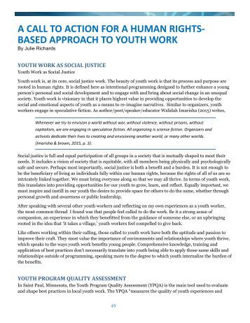 A CALL TO ACTION FOR A HUMAN RIGHTS- BASED APPROACH TO YOUTH WORK