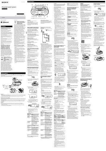 Sony ZS-RS70BT - ZS-RS70BT Consignes d'utilisation Tchèque
