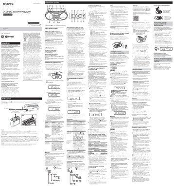 Sony ZS-RS60BT - ZS-RS60BT Consignes d'utilisation Polonais