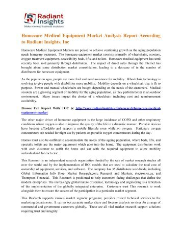 Homecare Medical Equipment Market Analysis Report According to Radiant Insights, Inc