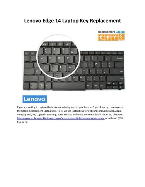 Lenovo Edge 14 Laptop Key Replacement