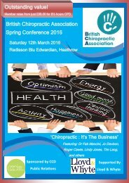 Outstanding value! British Chiropractic Association Spring Conference 2016