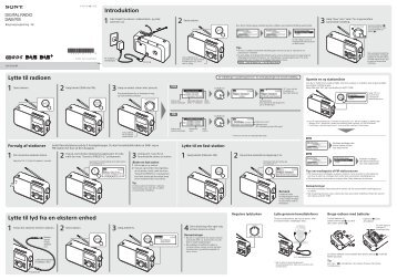 Sony XDR-S60DBP - XDR-S60DBP Consignes d'utilisation Danois