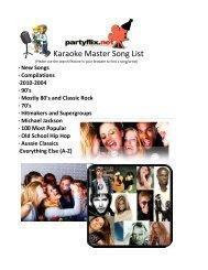 ad2e0edba3b1 The Sing-Magic.com Karaoke Song List - Sing-Magic Free Karaoke ...