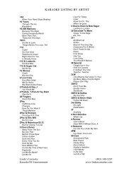 karaoke listing by artist - Linda's Carraoke Karaoke/DJ Entertainment