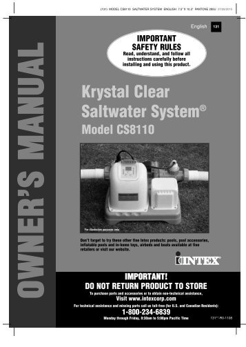 Krystal Clear Saltwater System - Intex Development Company Limited