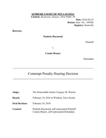 Contempt Penalty Hearing Decision ______________________________________________