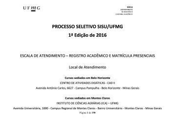 PROCESSO SELETIVO SISU/UFMG 1ª Edição de 2016