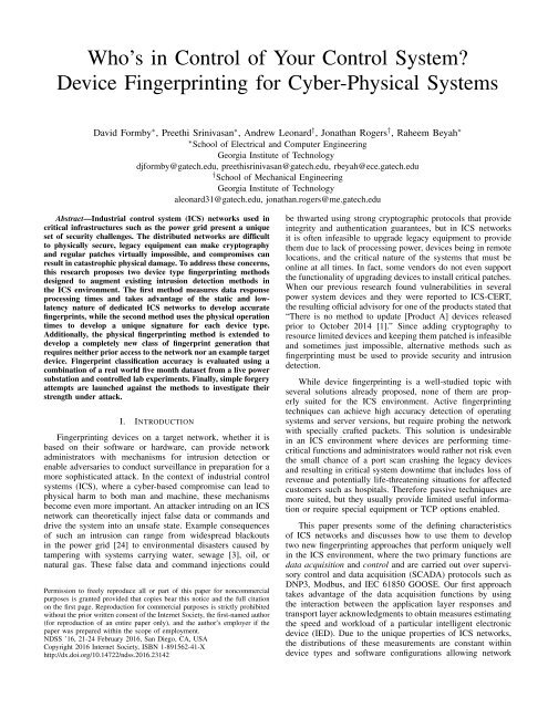 Device Fingerprinting For Cyber Physical Systems