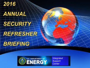 2016 ANNUAL SECURITY REFRESHER BRIEFING