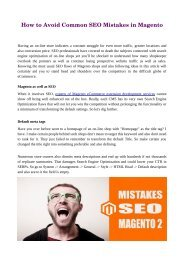 How to Avoid Common SEO Mistakes in Magento