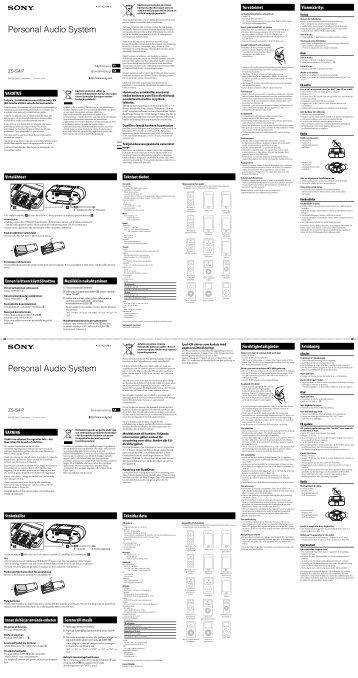 Sony ZS-S4iP - ZS-S4IP Consignes d'utilisation Finlandais