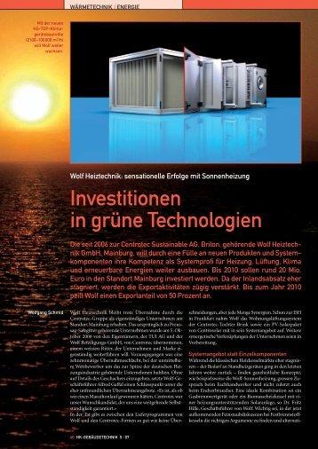 Investitionen in grüne Technologien - Wolf (Schweiz) AG