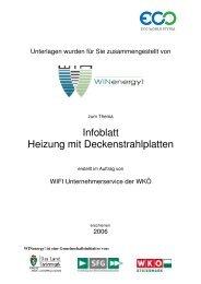 Infoblatt Heizung mit Deckenstrahlplatten - WIN