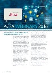 ACSA webinars 2016