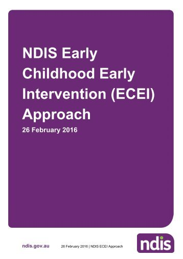 NDIS Early Childhood Early Intervention (ECEI) Approach