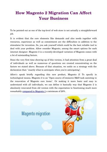 How Magento 2 Migration Can Affect Your Business