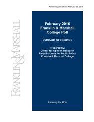 Fr Febr ranklin Col ruary n & M lege P 2016 Marsh Poll all