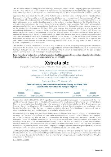 Part I Information on the Group - Xstrata