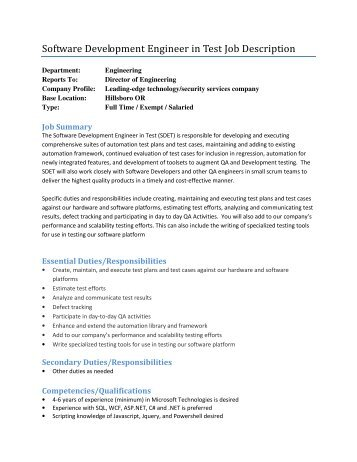Senior Software Developer Job Description - Core Solutions