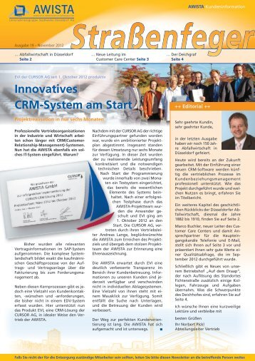 AWISTA, Innovatives CRM-System am Start, Referenzbericht, Straßenfeger 19-2012
