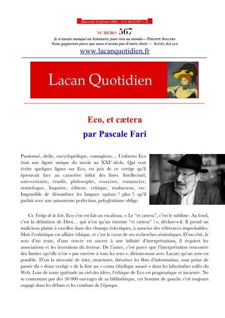 Eco et cætera par Pascale Fari