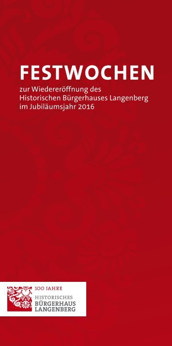Festwochen im Historischen Bürgerhaus Langenberg
