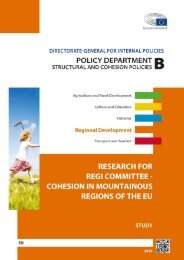 RESEARCH FOR REGI COMMITTEE - COHESION IN MOUNTAINOUS REGIONS OF THE EU