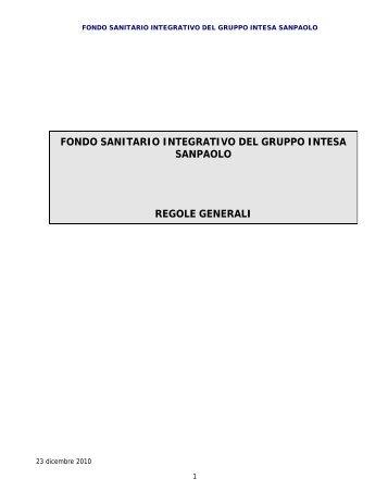 fondo sanitario integrativo del gruppo intesa sanpaolo regole generali