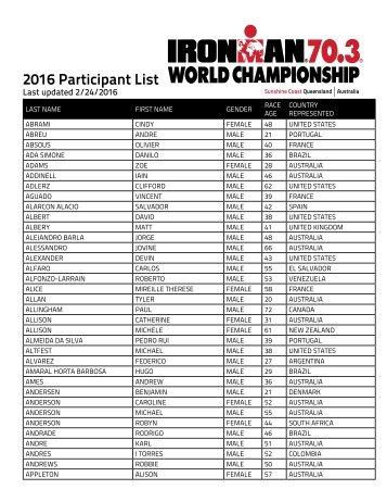 2016 Participant List
