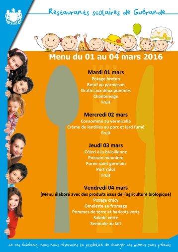 Menu du Menu du 01 au 04 mars 2016