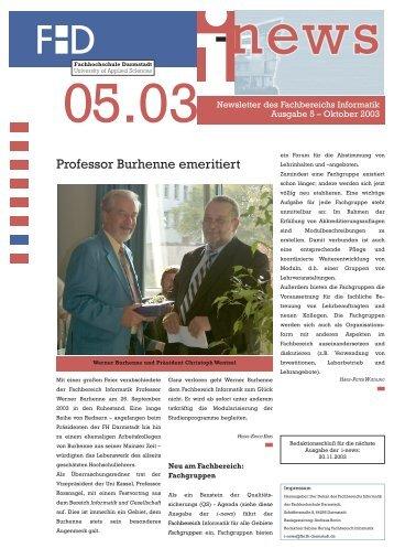 Professor Burhenne emeritiert - beim Fachbereich Informatik