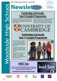 Year 9 Insight Programme Cambridge University Year 11 Insight Programme