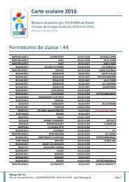 Carte scolaire 2016 Fermetures de classe  44