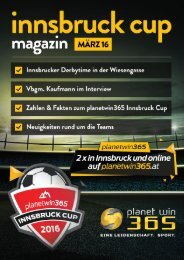 planetwin365 Innsbruck Cup 2016, das Magazin