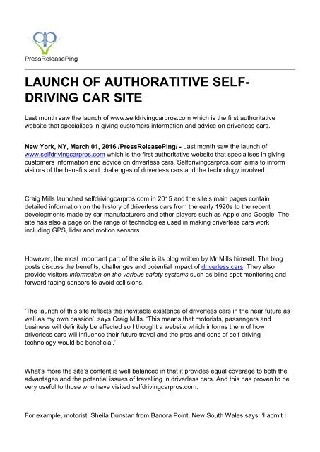 Launch Of Authoratitive Self-driving Car Site
