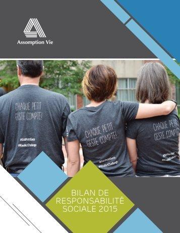 BILAN DE RESPONSABILITÉ SOCIALE 2015