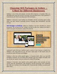 Choosing SEO Packages in Brisbane - A Must for Different Businesses