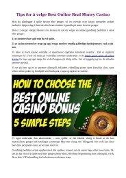 Tips for å velge Best Online Real Money Casino