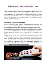 Effektive måter å lett vinne Online Poker