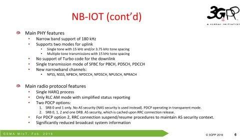 NB-IOT (cont'd) Main PH