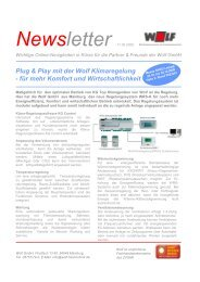 Newsletter 11.09.2009 Plug & Play mit der Wolf Klimaregelung
