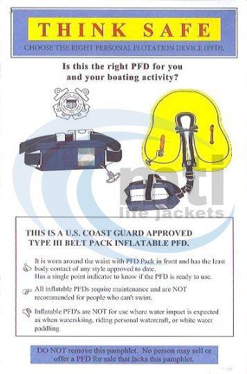 Think Safe Booklet for Inflatable Belt PFD