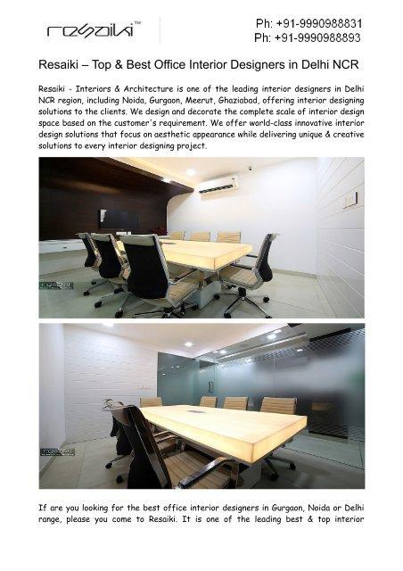 Top Office Interior Designers In Noida Resaiki Interiors