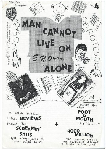 Man Cannot Live on Eno Alone Fanzine, Issue 4, 1984