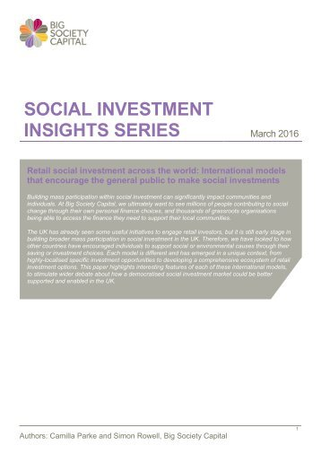 SOCIAL INVESTMENT INSIGHTS SERIES