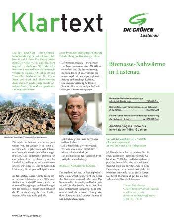 Biomasse-Nahwärme in Lustenau - Die Grünen