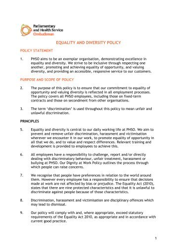 Appendix 1 questions ask for Diversity policy template
